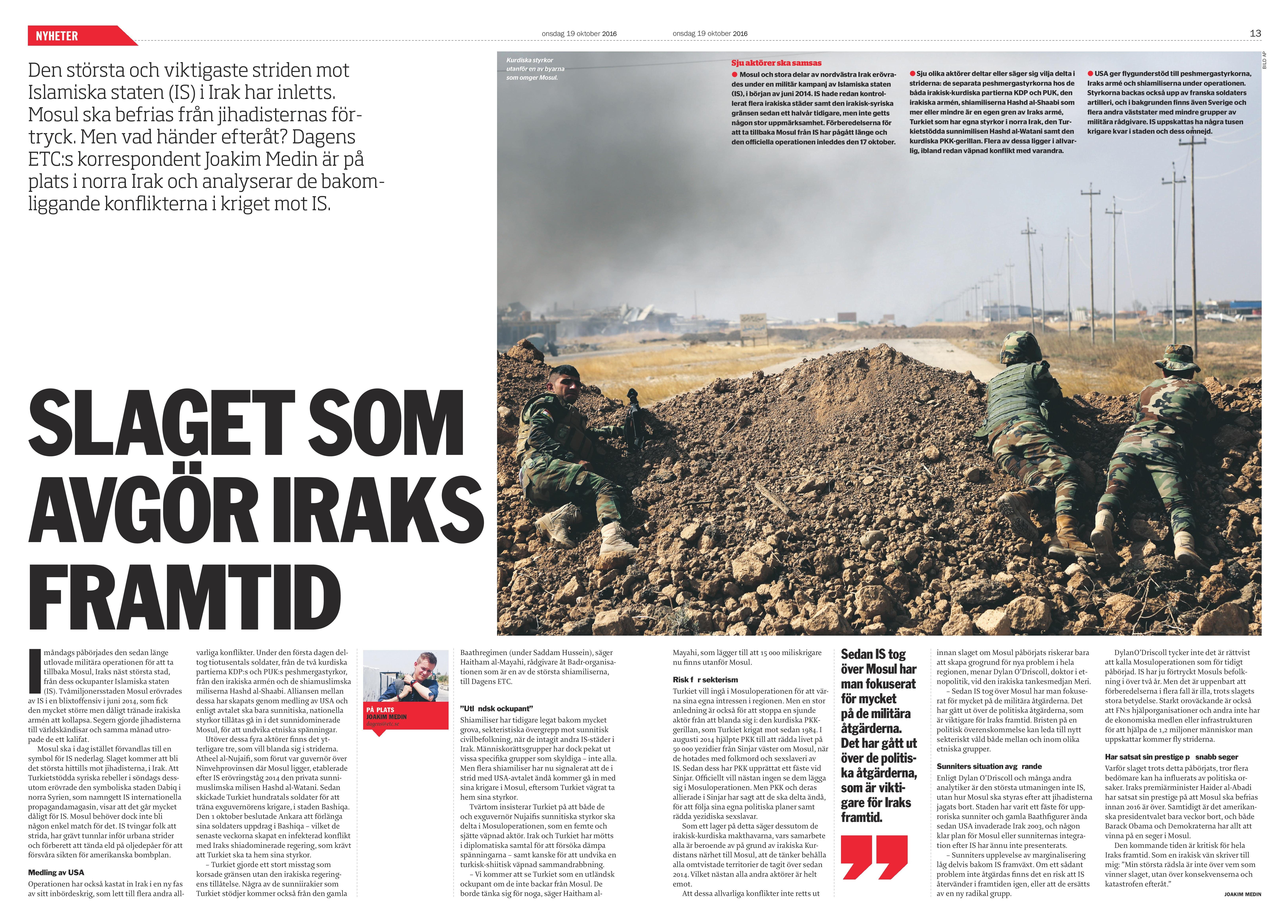 Irak, Dagens ETC 2016-10-19