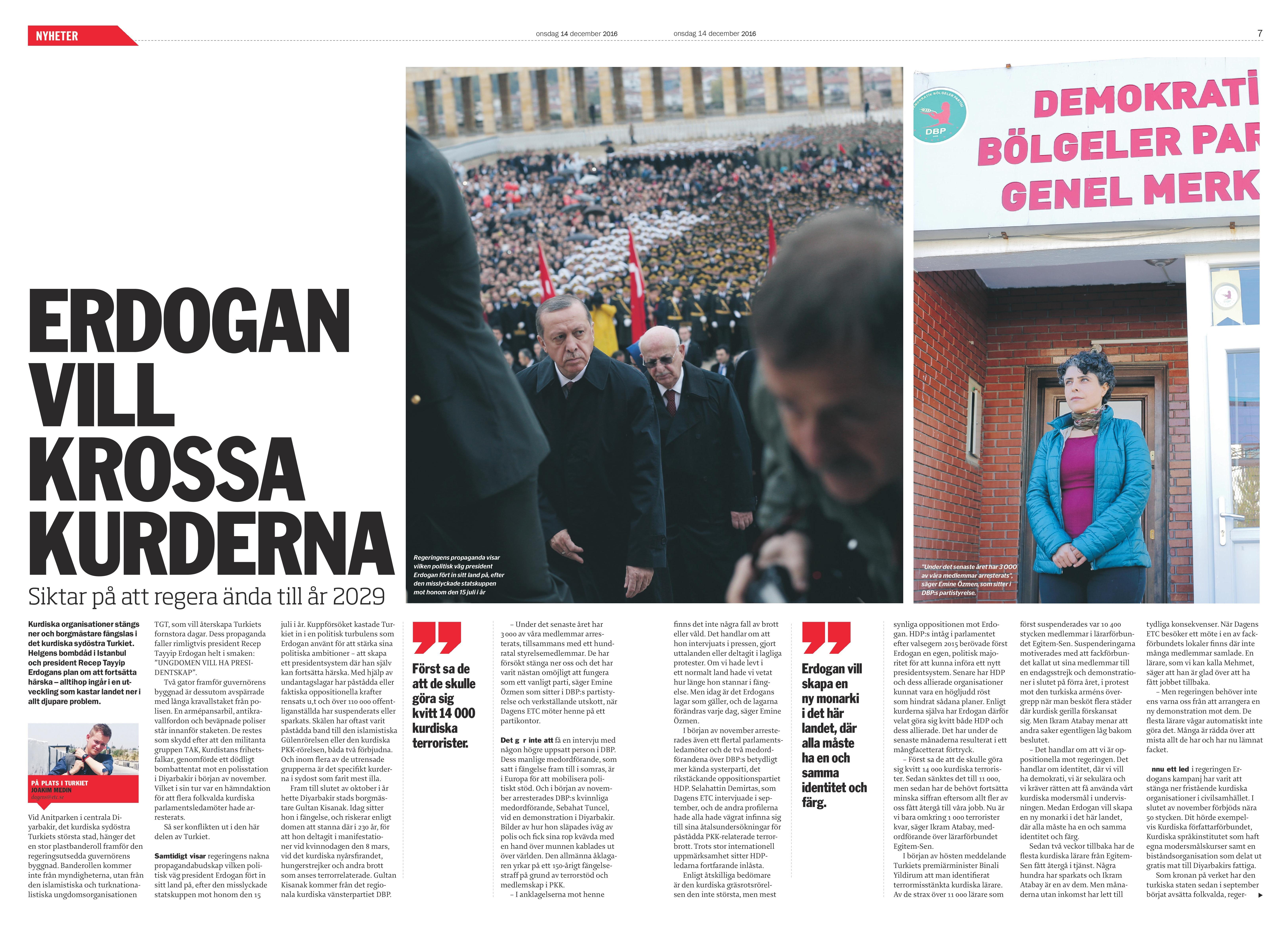 Turkiet, Dagens ETC 2016-12-14