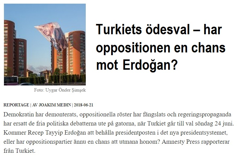 Turkiets ödesval, Amnesty Press juni 2018