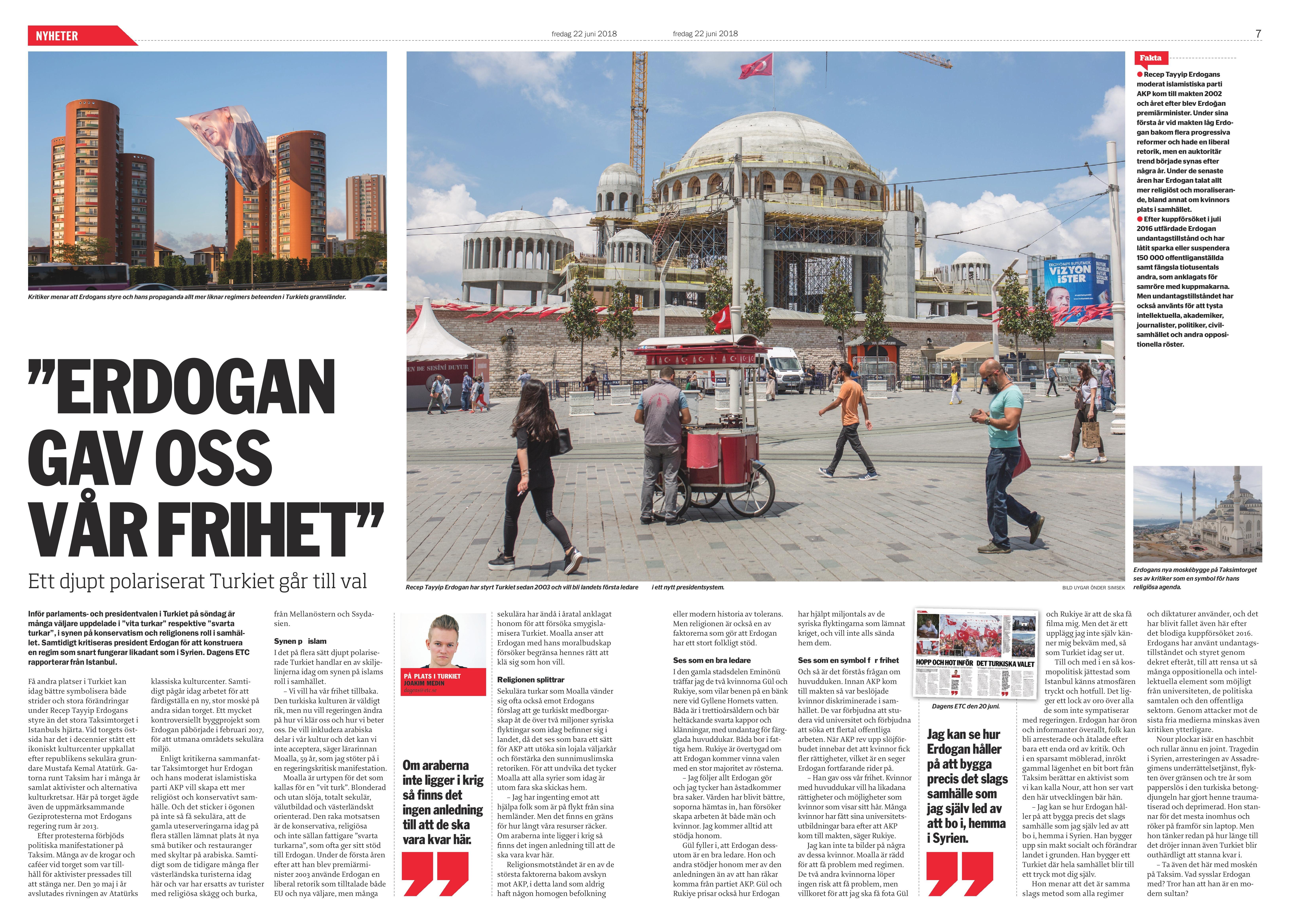 Turkiet, Dagens ETC 2018-06-22