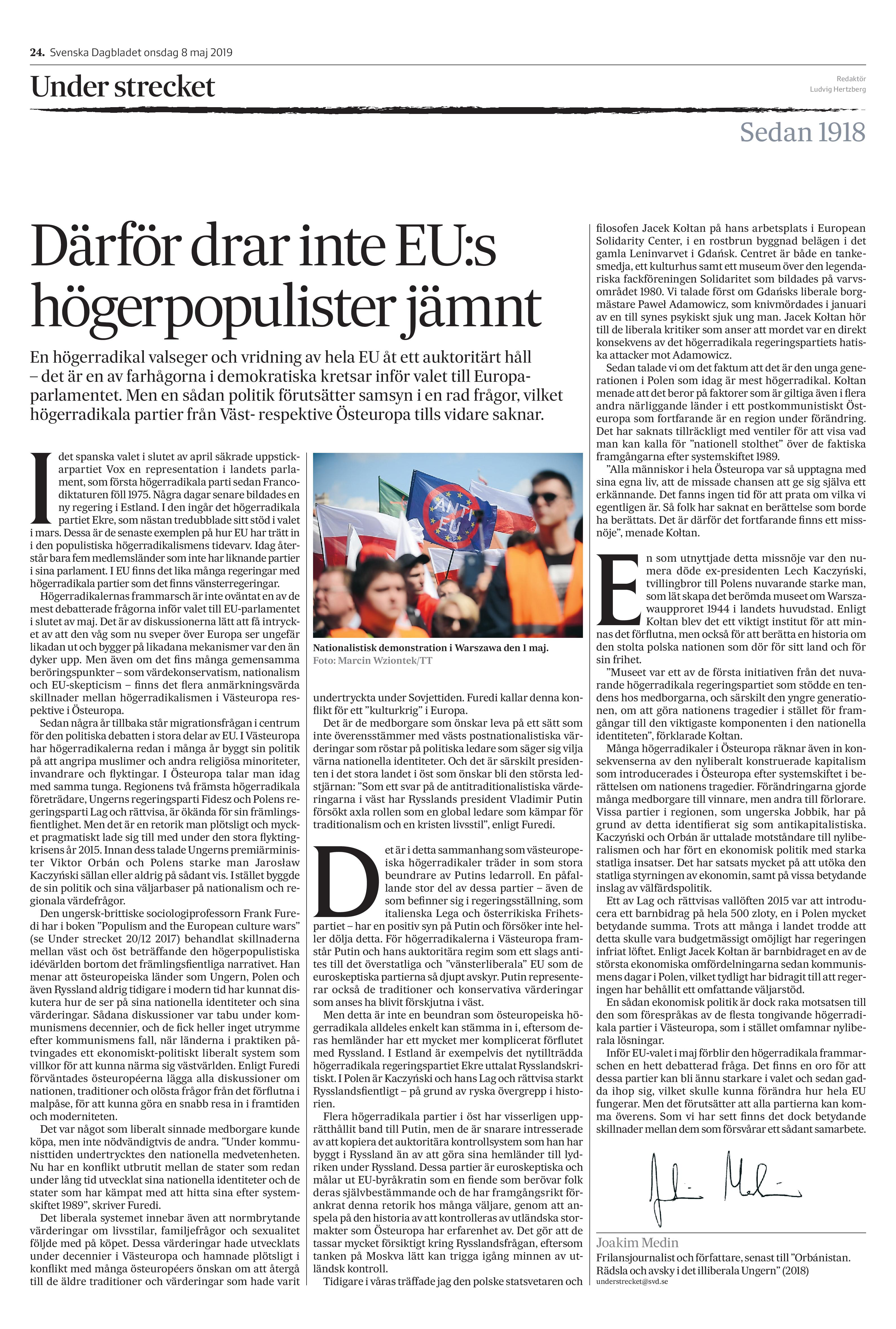 Ungern & Polen, Svenska Dagbladet 2019-05-08