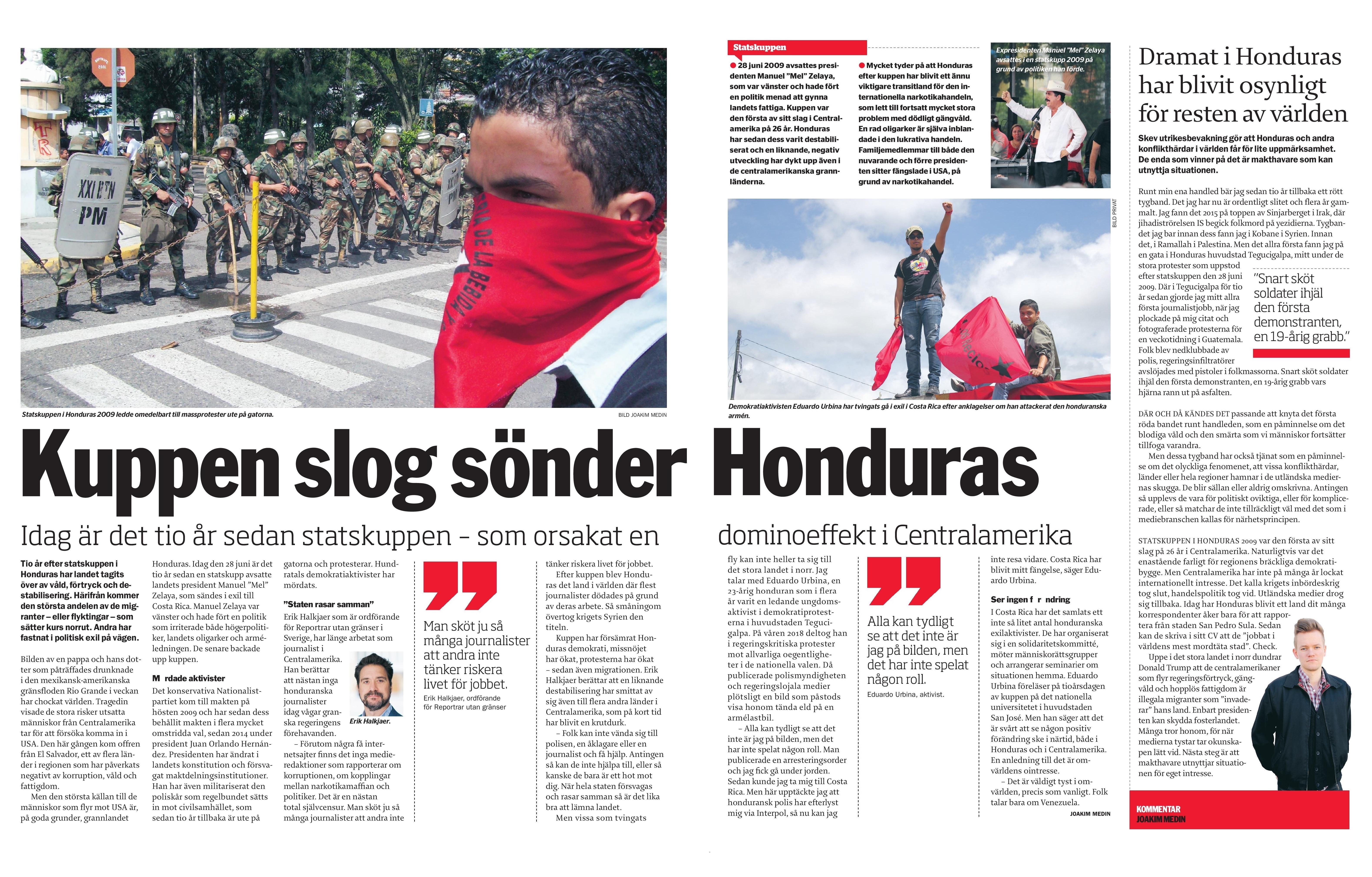 Honduras, Dagens ETC 2019-06-28