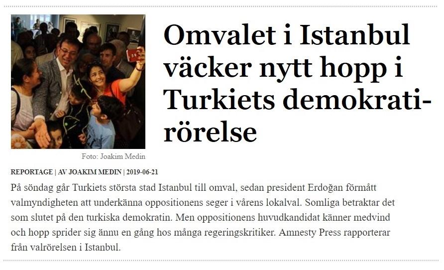 Turkiet, Amnesty Press juni 2019