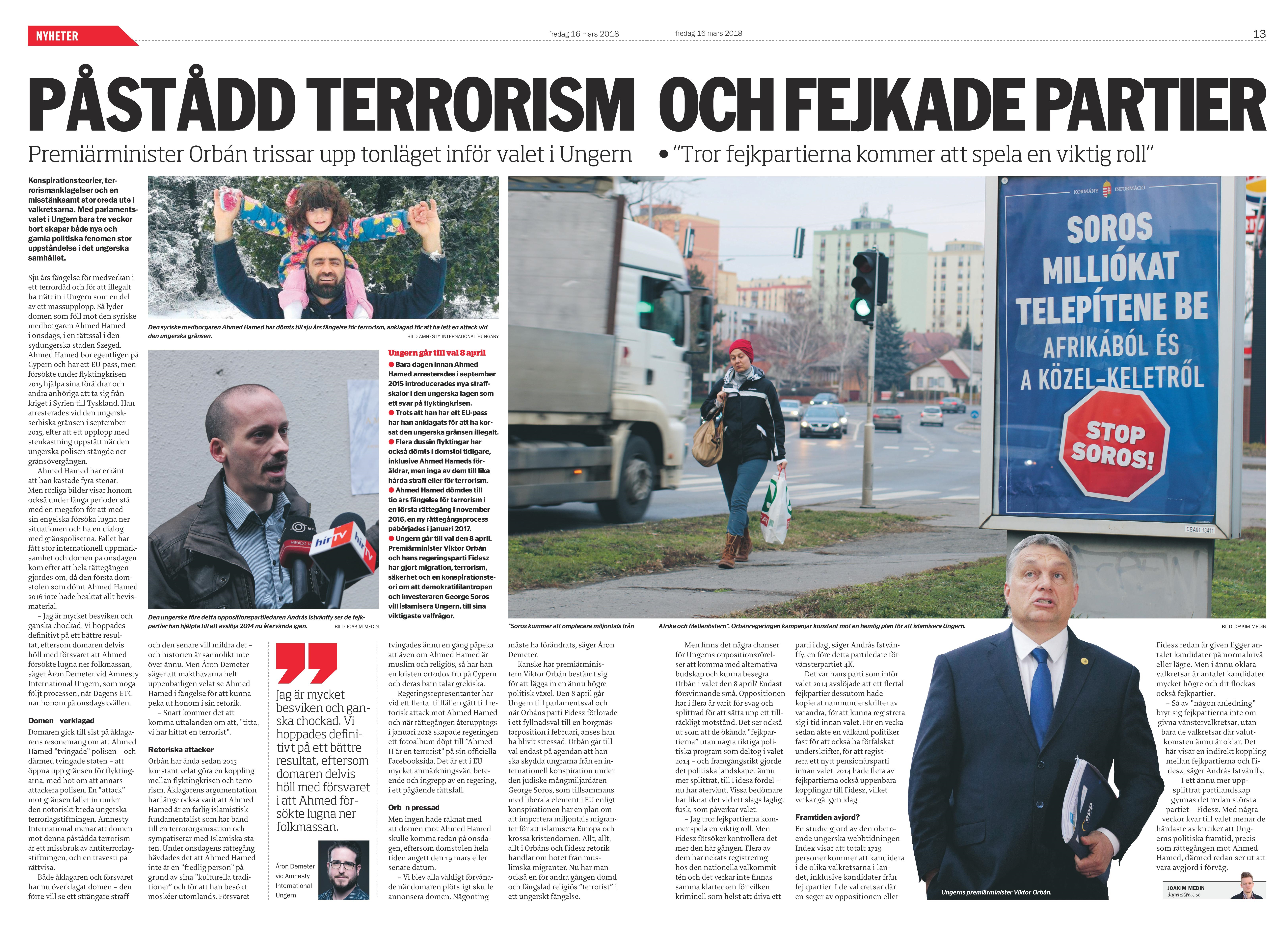 Ungern, Dagens ETC 2018-03-16