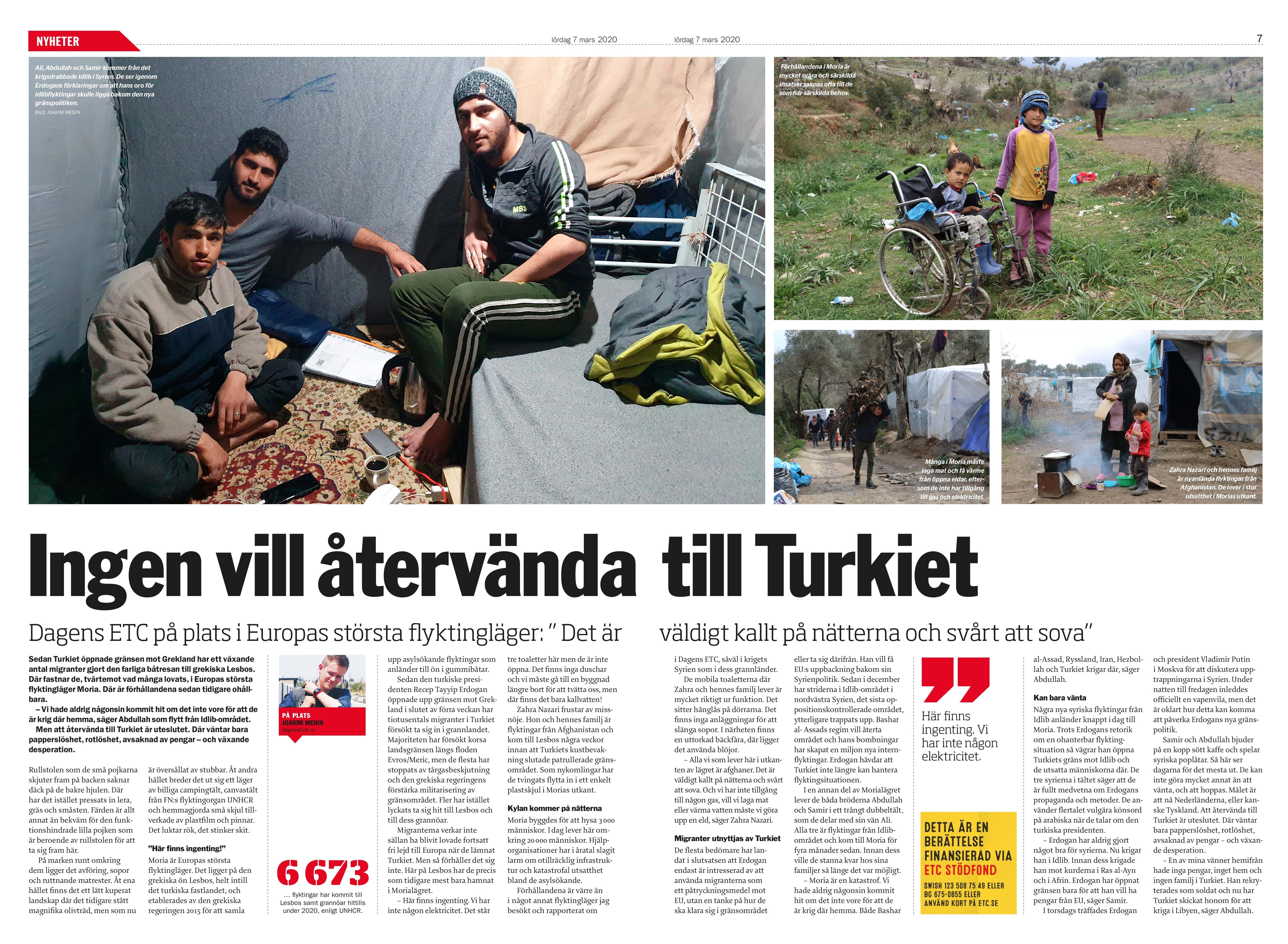 Grekland, Dagens ETC 2020-03-07