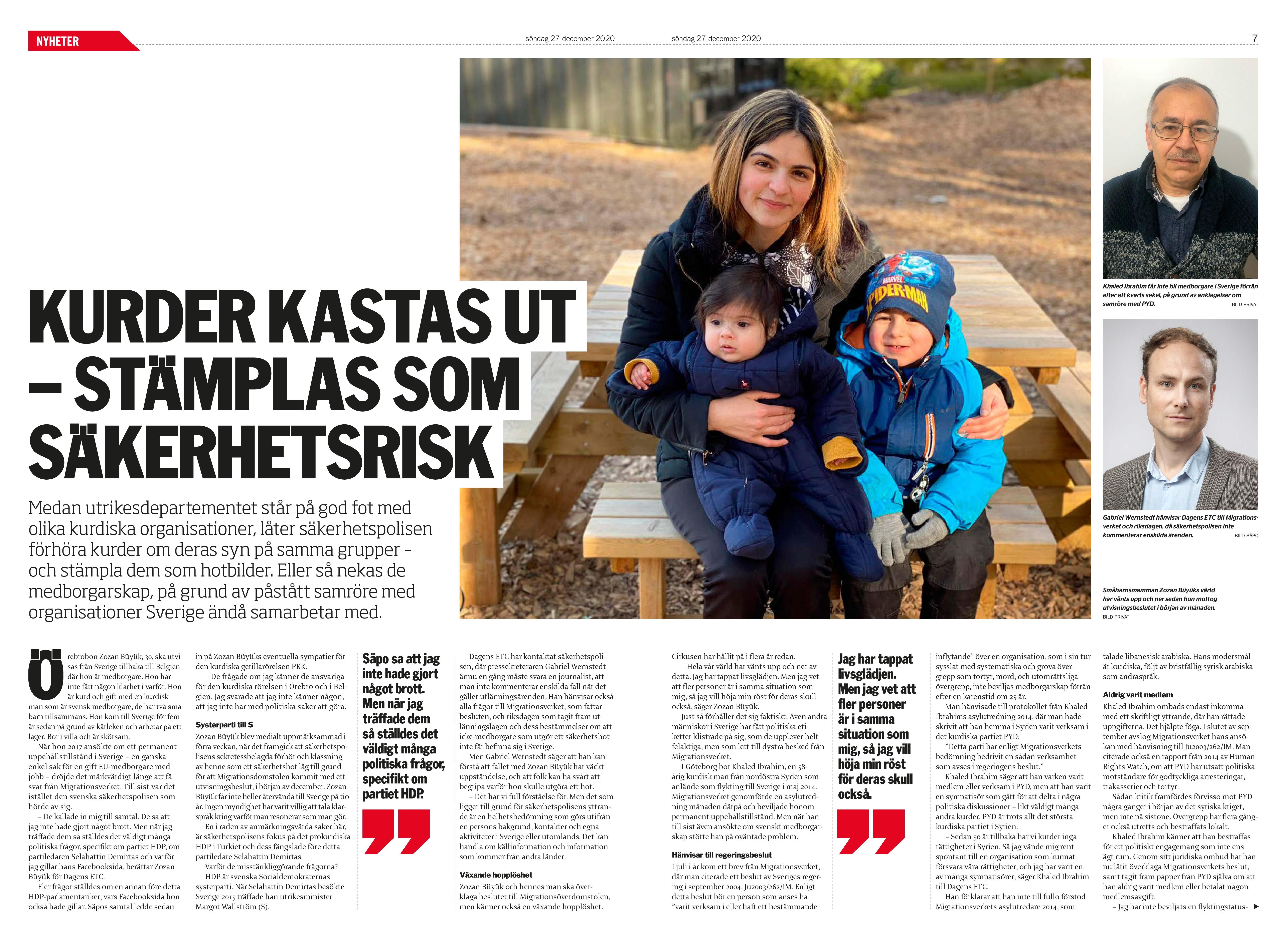 Kurder kastas ut, Dagens ETC 2020-12-27