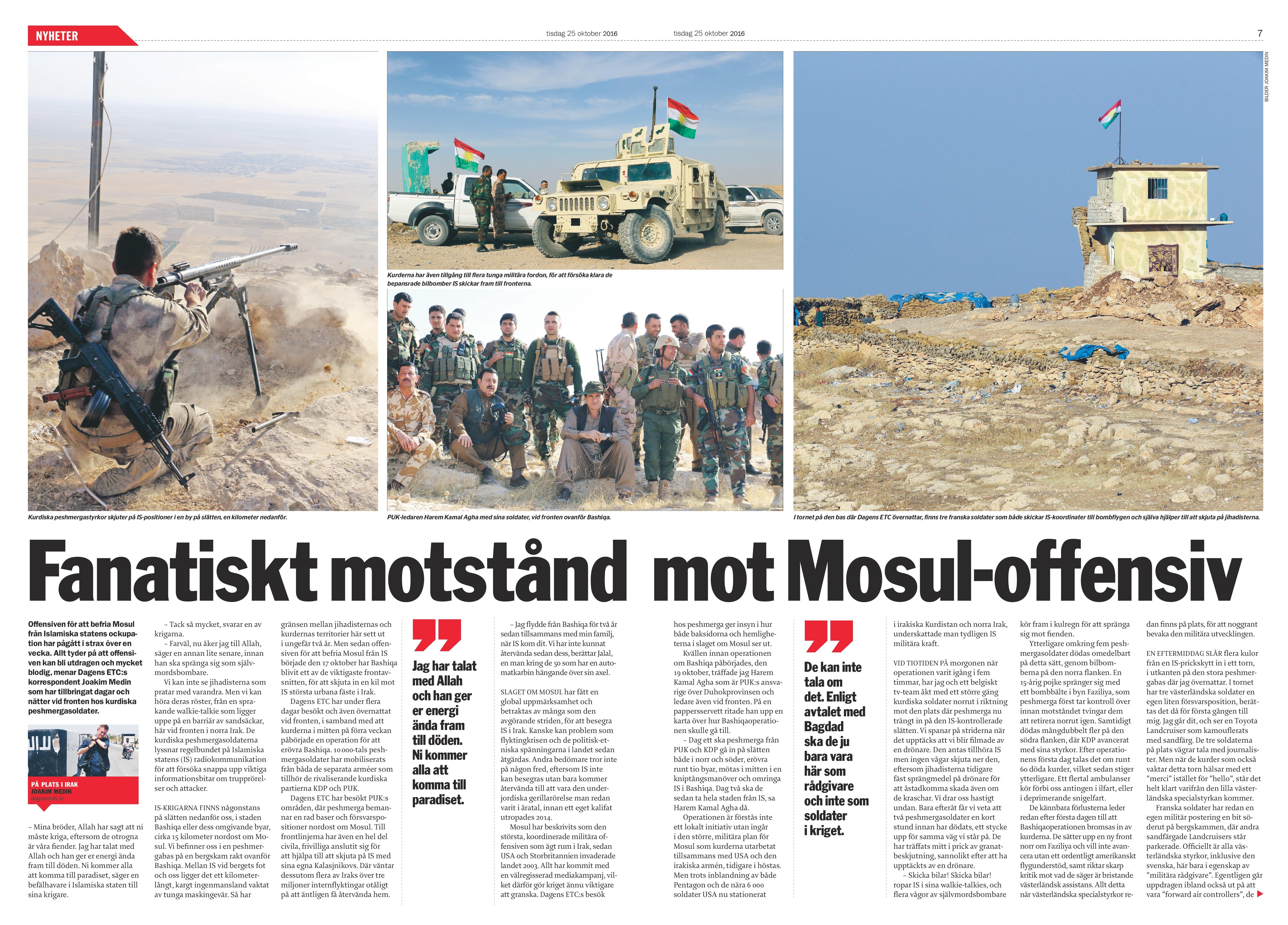Irak, Dagens ETC 2016-10-25
