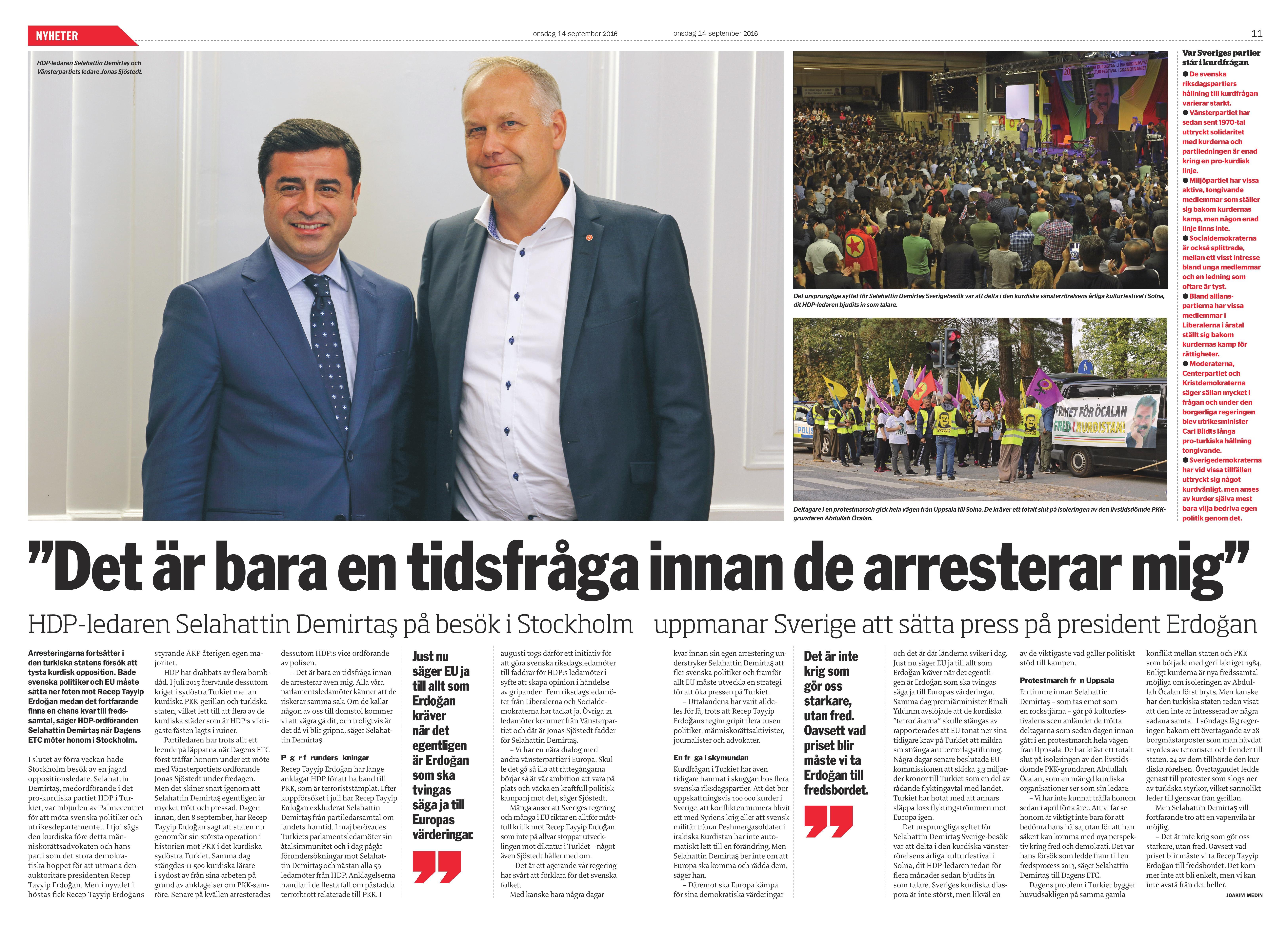 Turkiet, Dagens ETC 2016-09-14