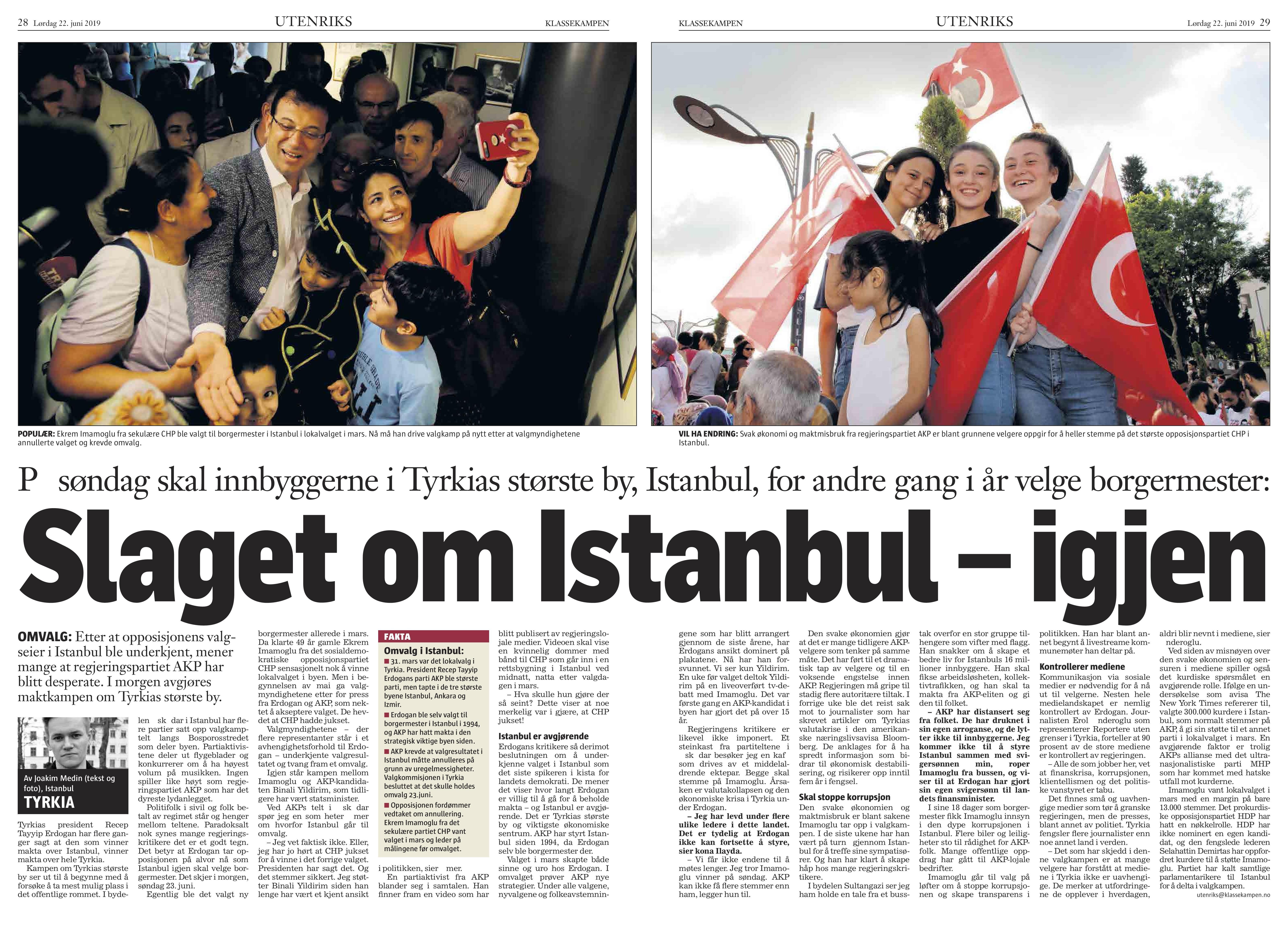 Turkiet, Klassekampen 2019-06-22
