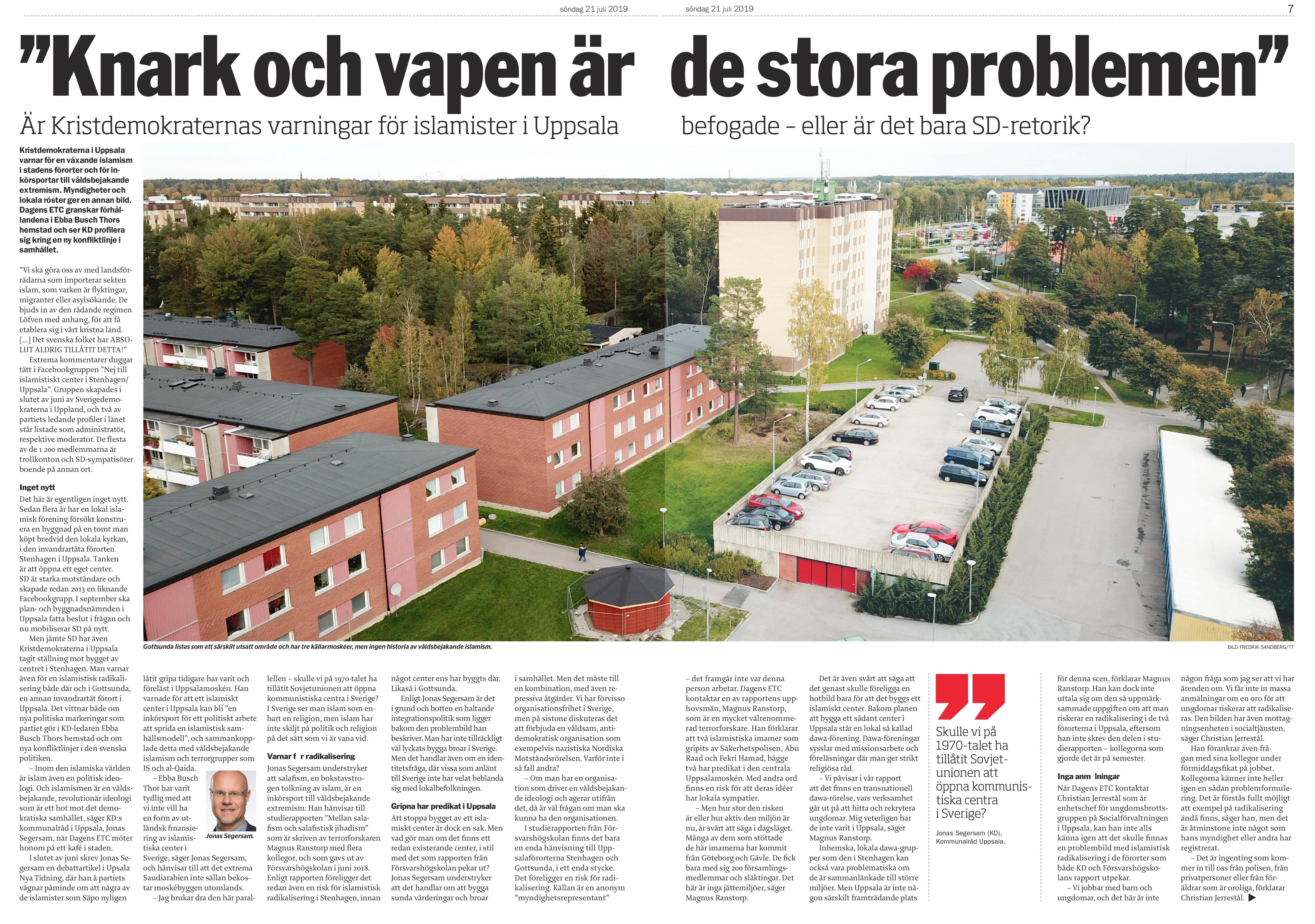 Uppsala, Dagens ETC 2019-07-21