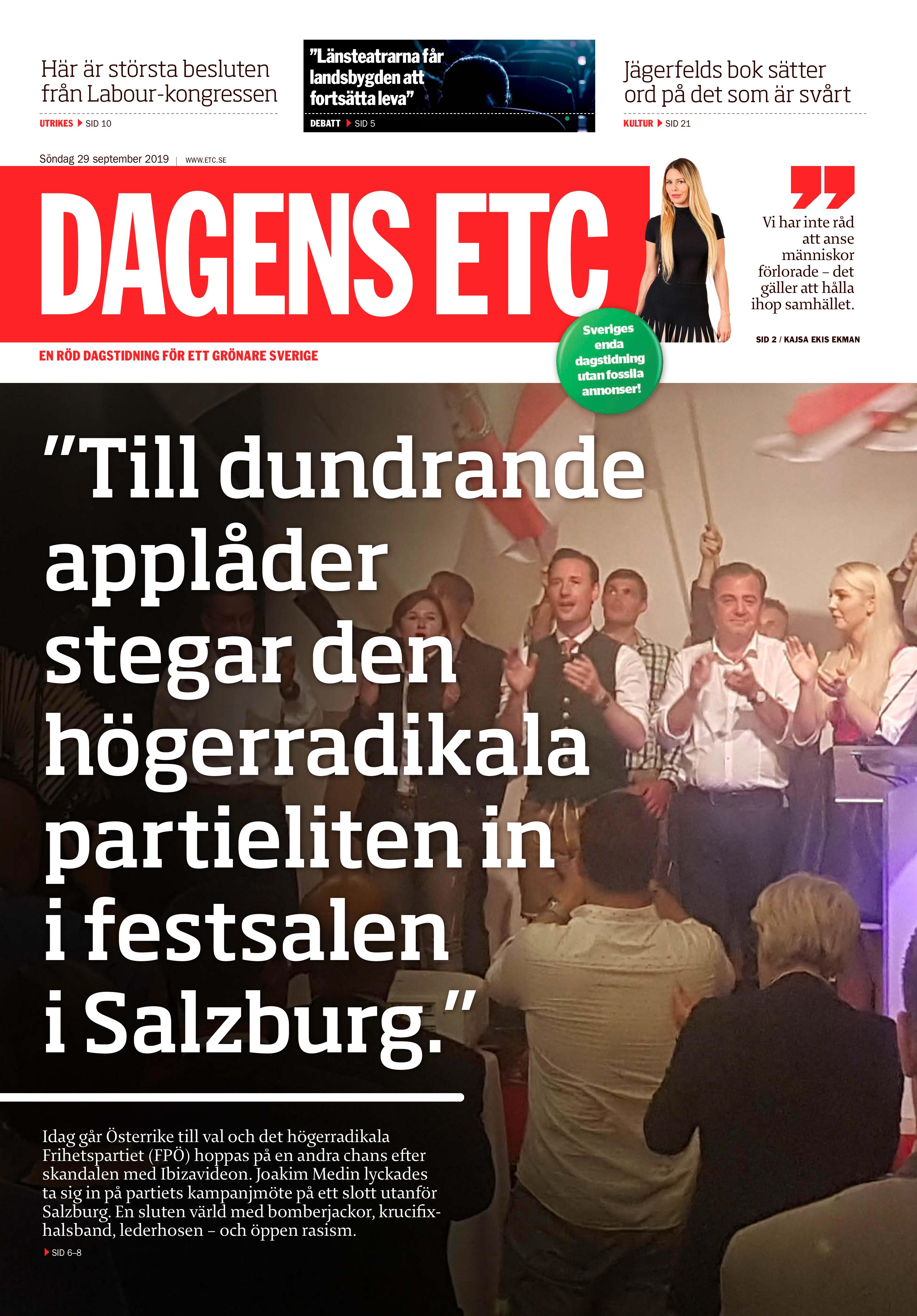 Österrike, Dagens ETC 2019-09-29