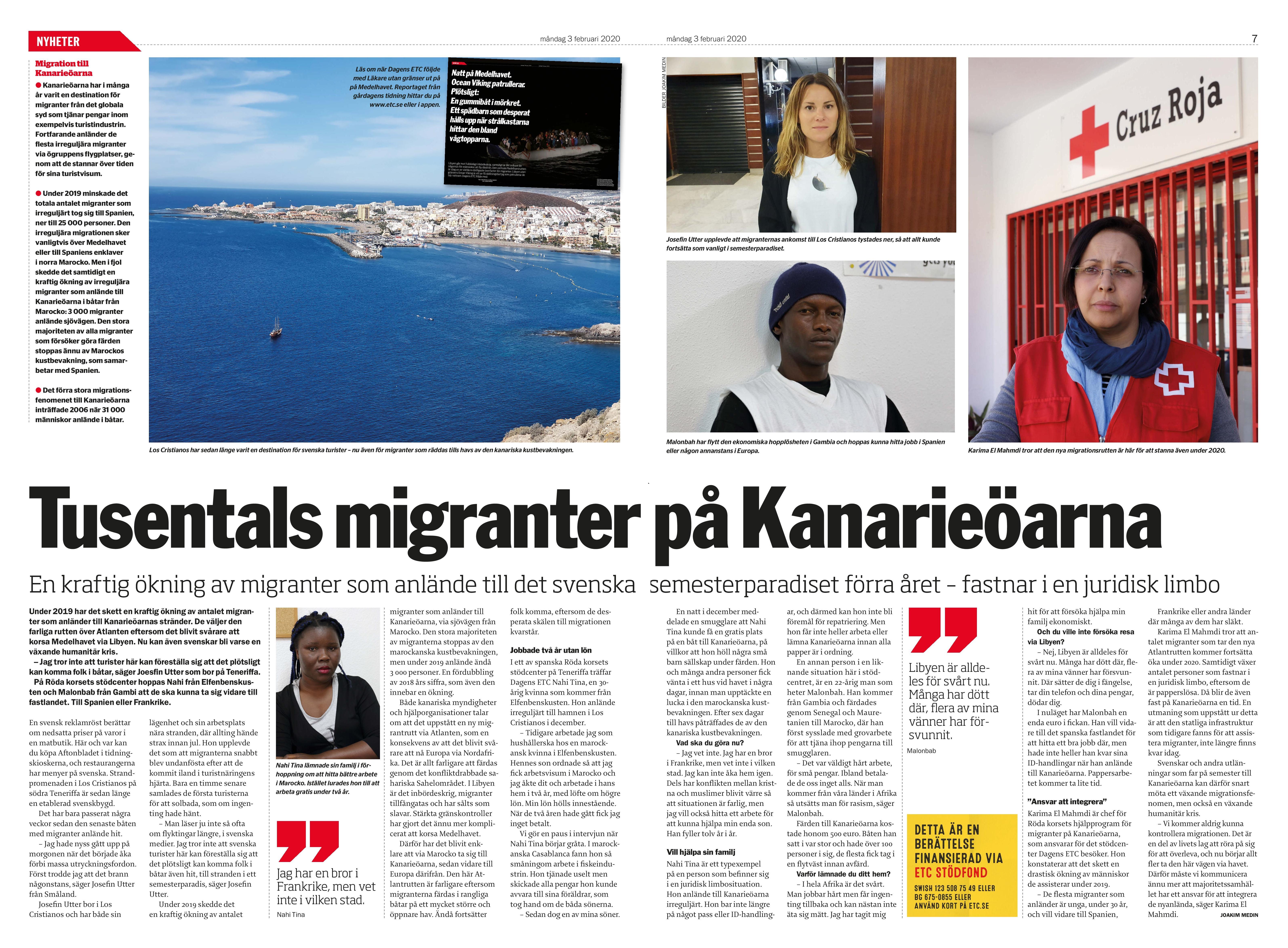 Kanarieöarna, Dagens ETC 2020-02-03