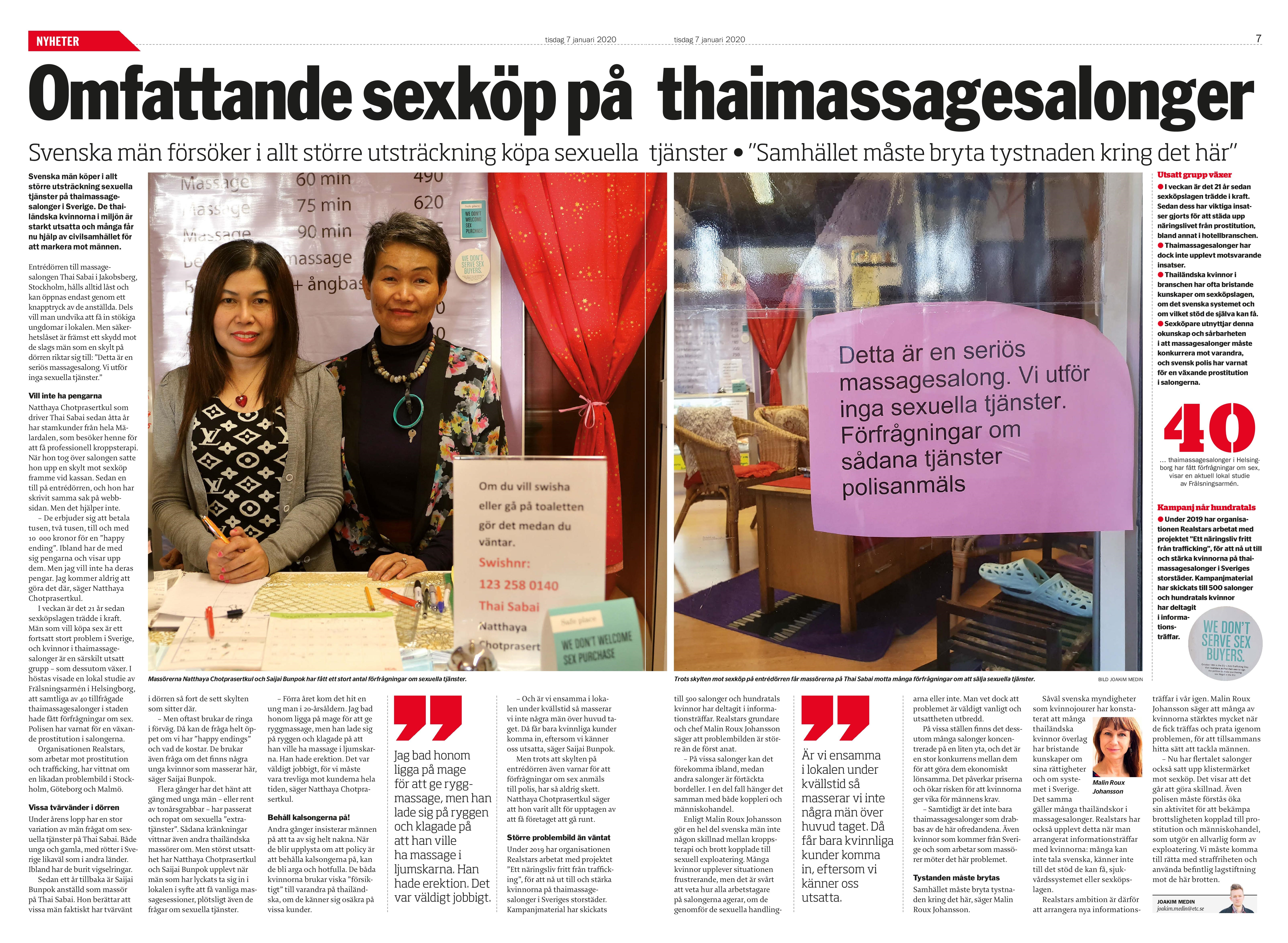 Sexköp på massagesalonger, Dagens ETC 2020-01-07