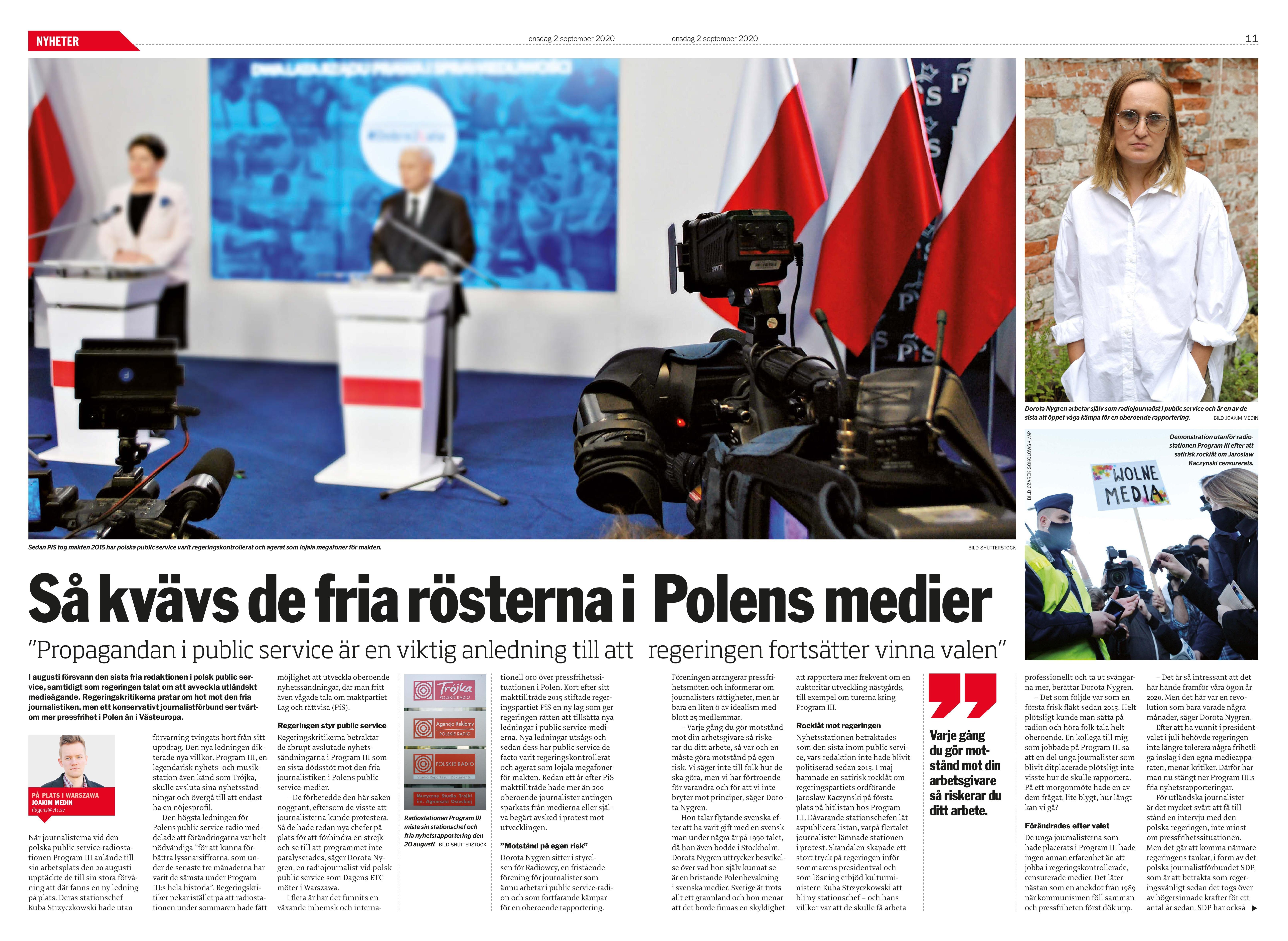 Polen, Dagens ETC 2020-09-02