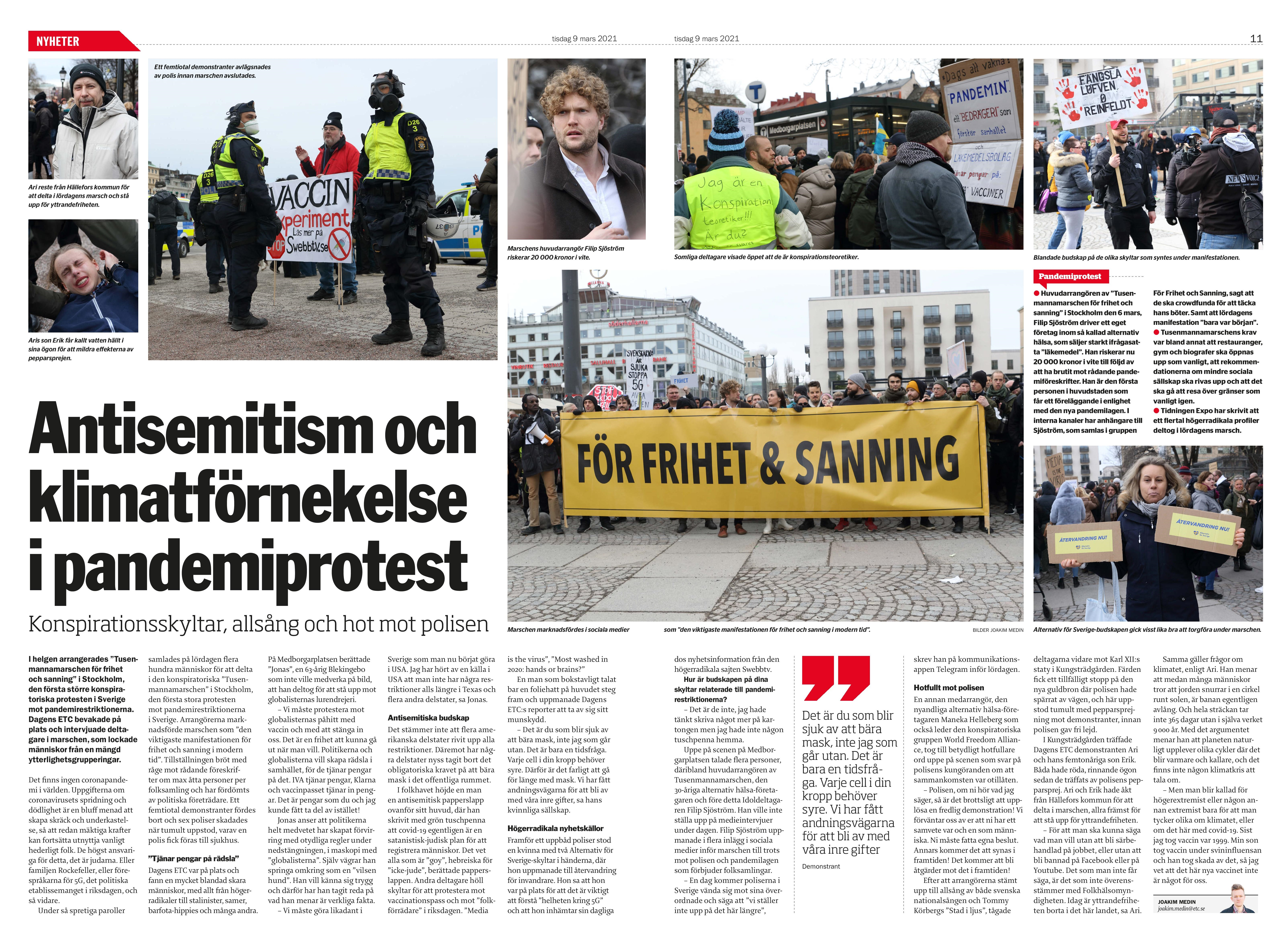 Coronaprotest i Stockholm, Dagens ETC 2021-03-09-page-001