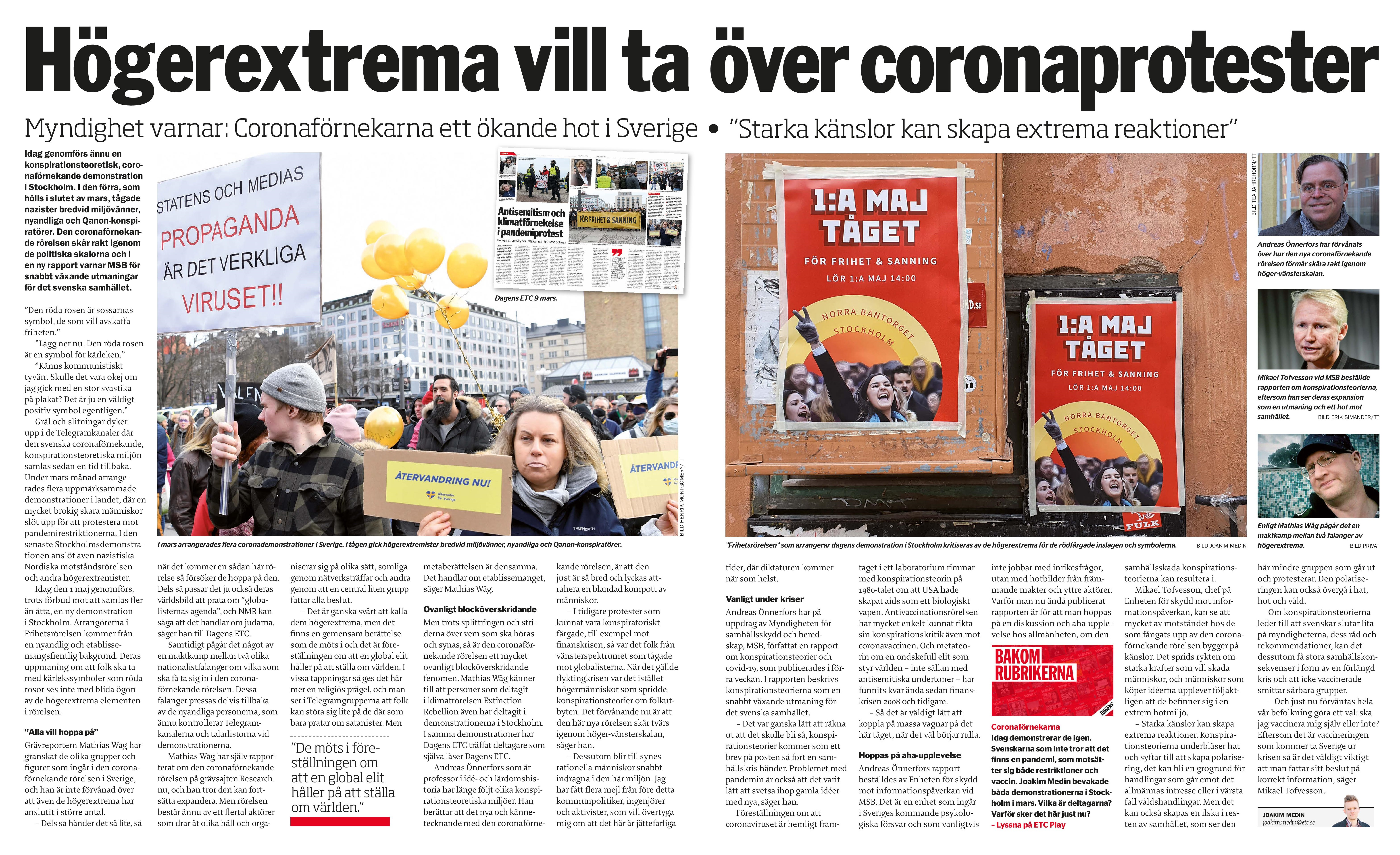 Coronaprotester och högerextremister, Dagens ETC 2021-05-01-page-001