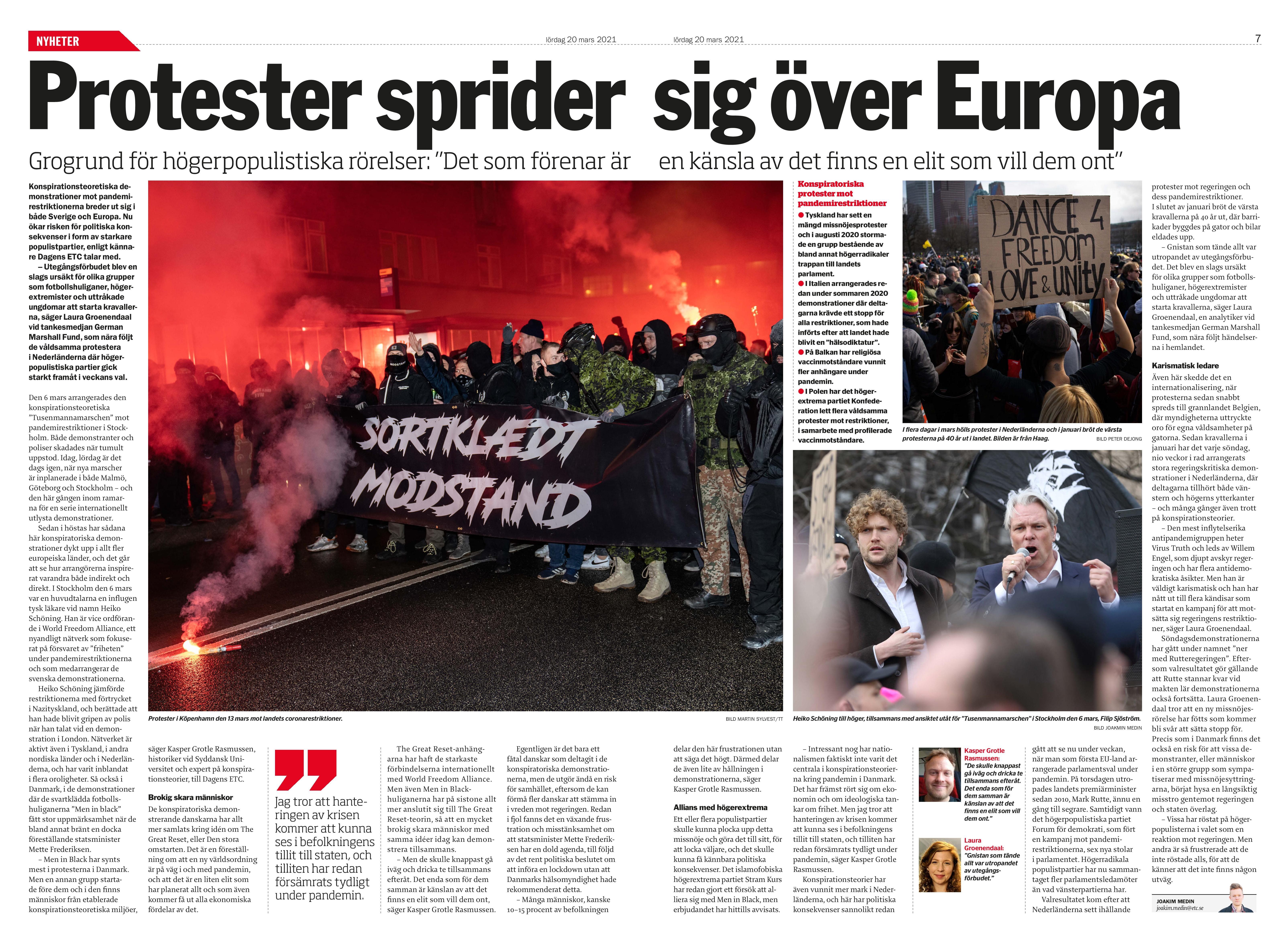 Coronaprotester sprids i Europa, Dagens ETC 2021-03-20-page-001